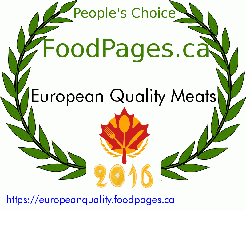 European Quality Meats FoodPages.ca 2016 Award Winner